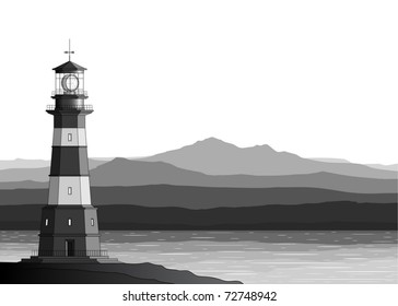 Landscape with detailed lighthouse, mountains and sea (vector)