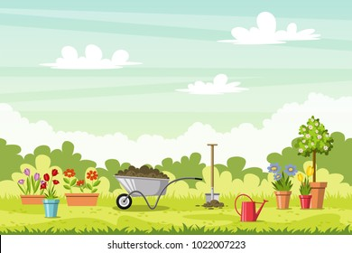Landscape with differents garden tools