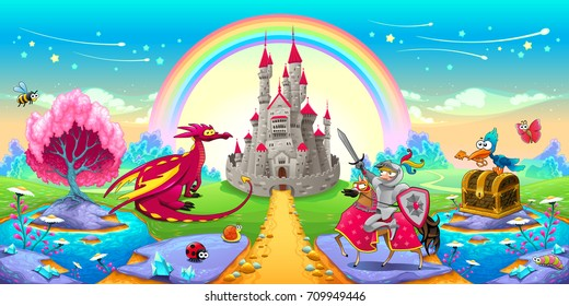 Landscape of dreams with dragon and knight. Vector cartoon fantasy illustration