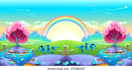 Landscape of dreams with rainbow. Vector cartoon illustration