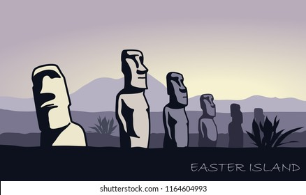 The landscape of Easter island with the famous sculptures at dusk. Vector Illustration