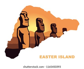 The landscape of Easter island with the famous sculptures at sunset in the form of a map of Easter island. Vector Illustration