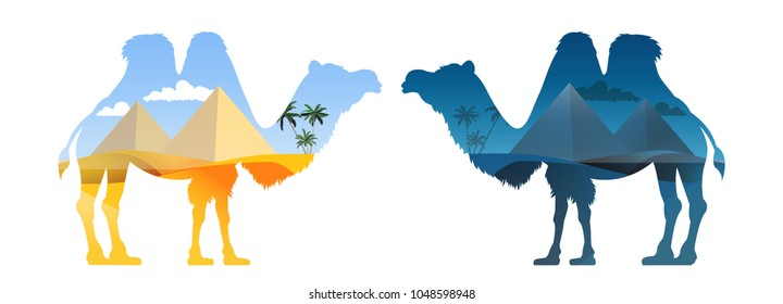 Landscape with Egyptian pyramids inscribed in a silhouette of a camel. Vector illustration.