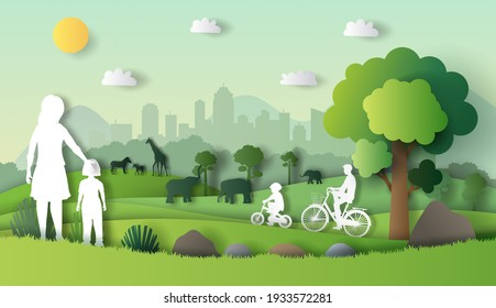 Landscape with family enjoy fresh air in the park, save the planet and energy concept, paper illustration, and 3d paper.