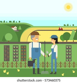 Landscape Farm, two farmers care for their land, planting, pets. Vector material design