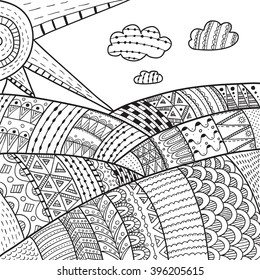 Landscape with Fields. Vector doodle illustration.  Hand-drawn, ethnic, floral, retro, doodle, vector, zentangle tribal design element. Pattern for coloring book.