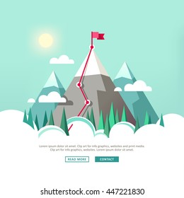 Landscape with flag on the mountain. Success in business. Vector illustration.