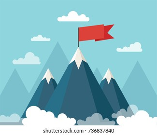 Landscape with flag on the mountain. Success concept illustration. Vector illustration.