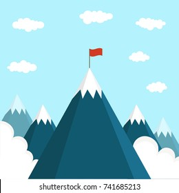 Landscape with flag on the mountain. Vector illustration.