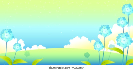 Landscape with flowers and sky