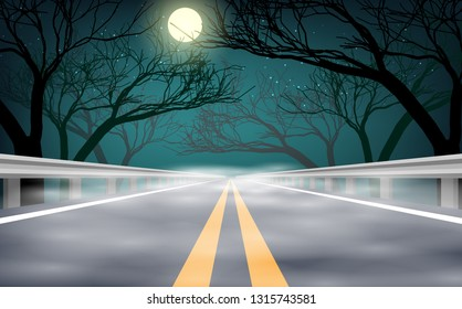 landscape of foggy road in the night