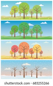 Landscape with forest in all four seasons vector illustrations set