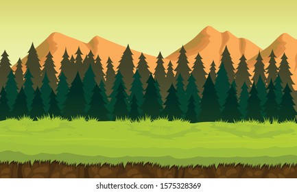 Landscape Forest Background with many trees