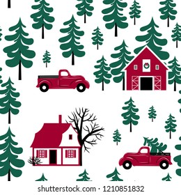 Landscape with forest, Christmas tree farm, Christmas truck and house on a white background.