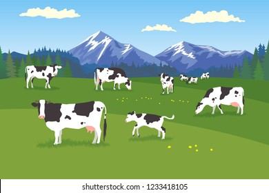 Landscape with forest, meadow, mountains and pasturing herb of cows in various poses