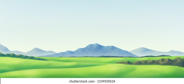 Landscape with forest and mounts. Vector background.