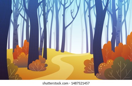 Landscape of forest path in autumn with orange bushes and blue trees. Background illustration in vector.