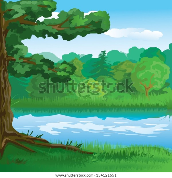 landscape with forest and river