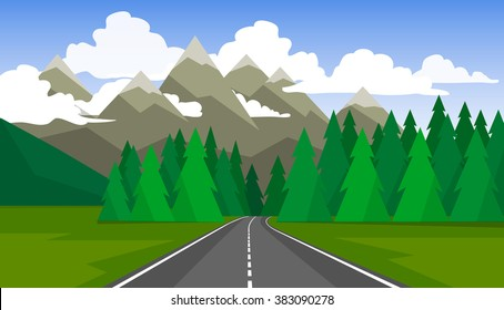 The landscape of forests, mountains and roads.
