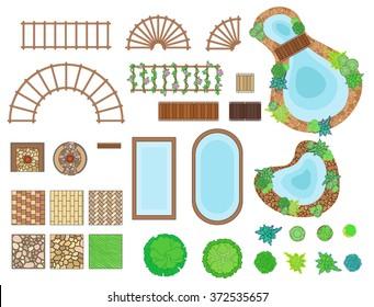 Landscape, garden elements. Landscaping elements vector. Landscaping symbols set