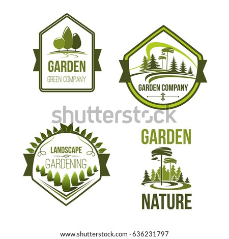 Ordinaire Landscape And Gardening Company Icons Set. Vector Outdoor Nature And  Woodlands Landscape Of Village Or