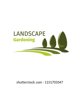 Landscape gardening design company icon for landscaping and green designing for eco city home. Vector parkland garden or park trees symbol for outdoor urban horticulture company