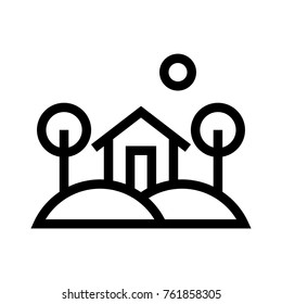 Landscape or gardenscape flat line icon. Real estate property landscaping linear vector illustration. Home in nature. Isolated on white background.