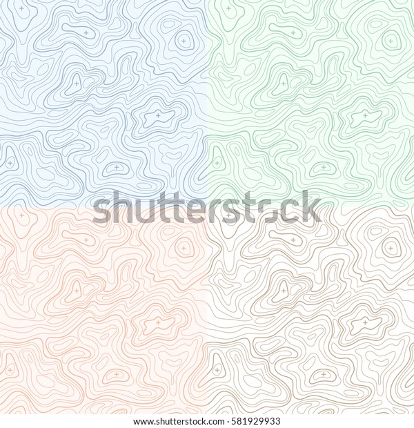 Landscape Geodesy Topographical Map Line with Mountain Texture Background Pattern Set. Vector illustration