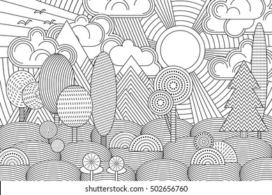 Beautiful scenery coloring page for kids 2 | 280x390