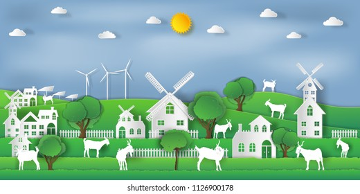 landscape of goat farm and relax in the morning city on summer, fresh air in the park as nature, living , paper art and craft style concept. vector illustration