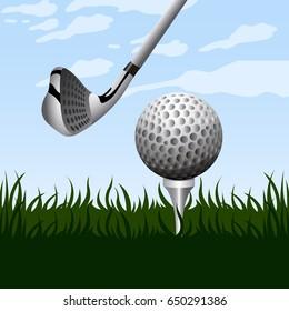 Landscape of a golf field, Vector illustration