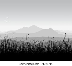 Landscape with grass and mountains (vector)