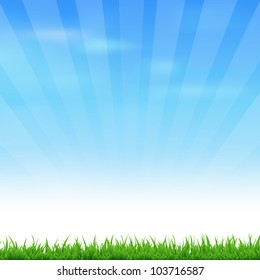 Landscape With Grass And Sky, Vector Illustration