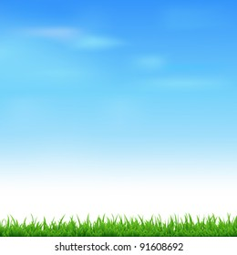 Landscape With Grass, Vector Illustration