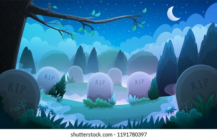 Landscape of a graveyard with old tombstones among grass and trees. Night scene with spooky fog. Vector illustration.