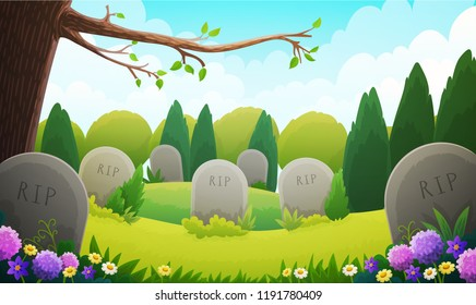 Landscape of a graveyard with old tombstones among grass and trees. Spring season with multicolored flowers and blue sky. Vector illustration.
