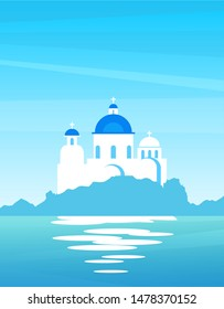 Landscape of Greek Nature with view on the coast. Church with blue domes on a sunny day, vector nautical illustration for travel companies.