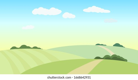 Landscape with green fields, hills. Vector illustration. Rural view.