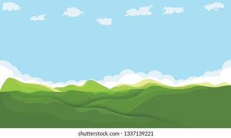 landscape green hill under blue sky and cloud on summer of holiday. vector landscape for background design or postcard