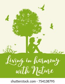 Landscape with green tree, birds and girl reading a book. Concept of living in harmony with nature.