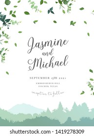 Landscape and greenery vector design invitation. Forest and mountains rural scenery. Herbal minimalist wedding travel rustic frame. Watercolor style.Natural card.All elements are isolated and editable