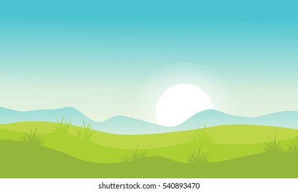 Landscape with hill at morning