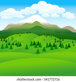 Landscape. Hills. Groups of trees. Mountains. Clouds in the sky. Vector illustration.