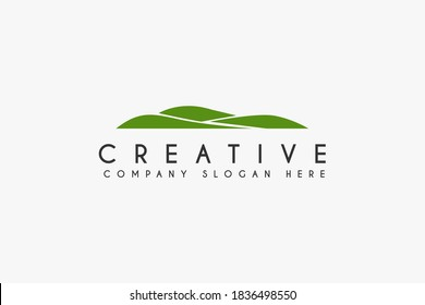 Landscape Hills logo design vector illustration. green Hill icon.usable for business and golf logo,isolated on white background