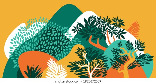 Landscape with hills, mountains and forests with broad-leaved trees. Conservation of the environment, national parks. Vector illustration.