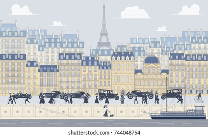 The landscape of the historic part of Paris, the promenade, old traditinal buildings, palaces, walking people and cars. Handmade drawing vector illustration. Vintage style.
