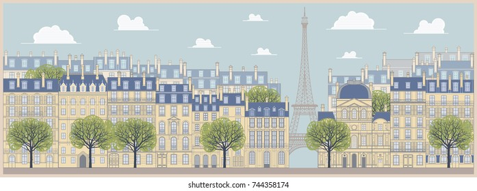 The landscape of the historic part of Paris, the promenade, old traditinal buildings, palaces. Handmade drawing vector illustration. Vintage style.