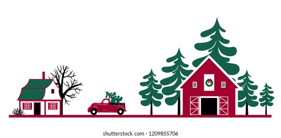 Landscape with a house, a Christmas tree farm and a Christmas truck. Hand drawn vector illustration.