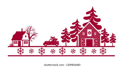 Landscape with house, Christmas tree farm, Christmas truck and snowflakes. Hand drawn vector illustration.