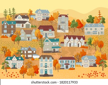 Landscape with houses, autumn in the village, cottage village, mountains and hills. Autumn view. Vector concept illustration in cartoon flat style.